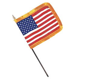 US Fringed Rayon Stick Flag – 4×6 in